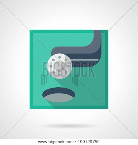 Symbol of golf ball putting to hole with club. Golfing tournament. Flat color square design vector icon.