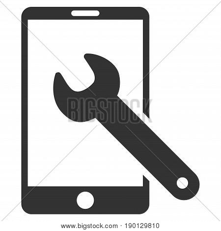 Smartphone Setup Wrench vector icon. Flat gray symbol. Pictogram is isolated on a white background. Designed for web and software interfaces.