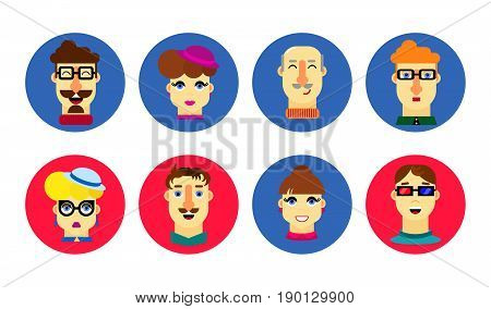 Flat human faces. Man and woman. Cartoon male and female avatar. People icon set. Human characters with glasses mustache hat. A happy smile. Bright joyful emotions. Vector.