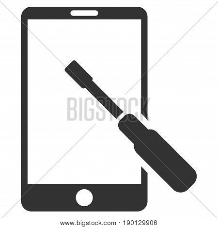 Smartphone Tuning Screwdriver vector icon. Flat gray symbol. Pictogram is isolated on a white background. Designed for web and software interfaces.