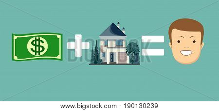 concept of money and home make you happy. Stock vector illustration for poster, greeting card, website, ad, business presentation, advertisement design.