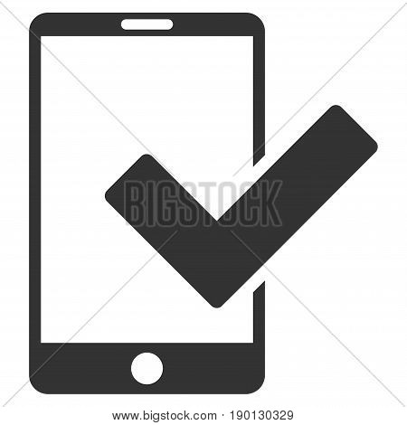 Valid Smartphone vector icon. Flat gray symbol. Pictogram is isolated on a white background. Designed for web and software interfaces.