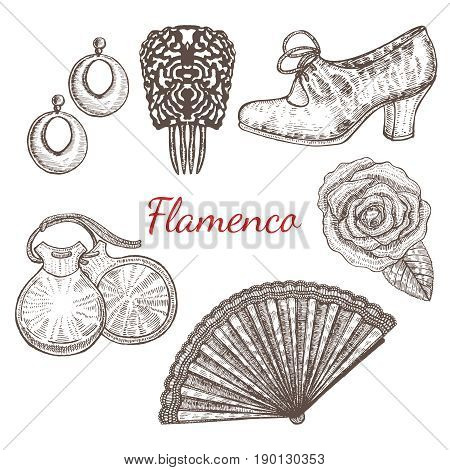 vector set of flamenco accessories - shoes fan castanets earrings rose comb