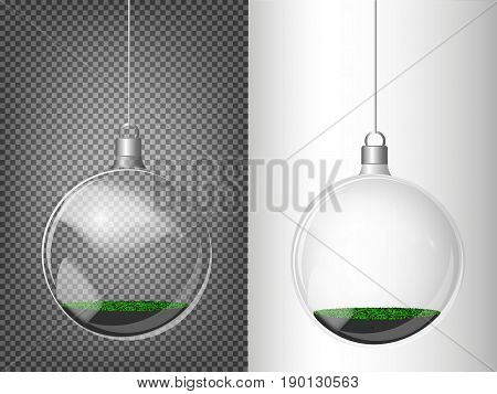 Vector Christmas Fir Tree And Realistic Transparent Silver Christmas Ball On A Light Abstract Backgr