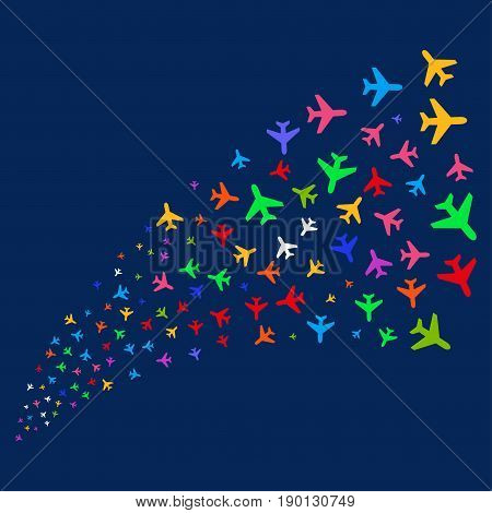 Fountain of air plane symbols. Vector illustration style is flat bright multicolored air plane iconic symbols on a blue background. Object source made from random pictograms.