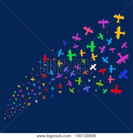 Source of aircraft symbols. Vector illustration style is flat bright multicolored aircraft iconic symbols on a blue background. Object salute made from scattered pictographs.