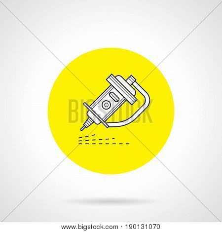 Outline symbol of laser plasma cutting. Industrial technology for metalworking and automotive. Round flat design yellow vector icon.