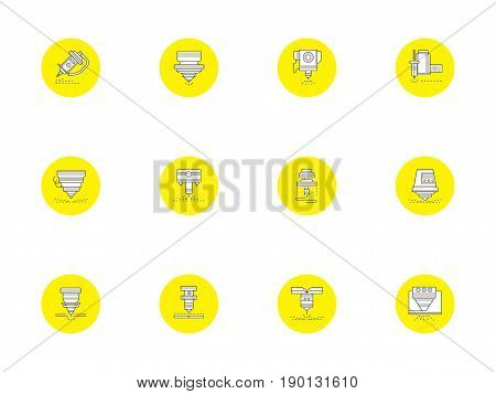 Flat outline symbols of laser technology. Automated and high precision equipment in industry. Collection of stylish round yellow vector icons.
