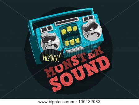 Cartooned  Funny Monster Cassette Tape Character Music Design With Artistic Custom Lettering For Tee Print.  Vector Graphic.
