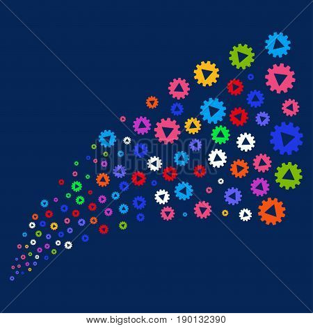 Source stream of automation icons. Vector illustration style is flat bright multicolored automation iconic symbols on a blue background. Object source organized from confetti icons.
