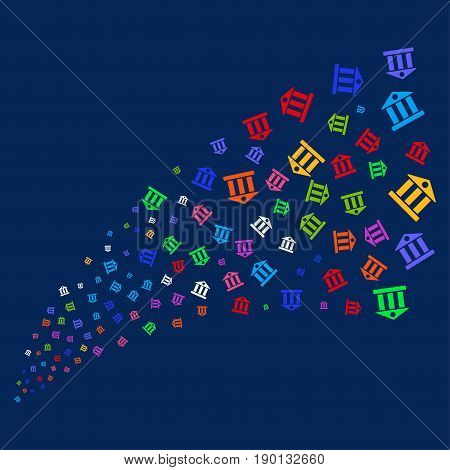 Source stream of bank building symbols. Vector illustration style is flat bright multicolored bank building iconic symbols on a blue background. Object salute combined from confetti pictograms.