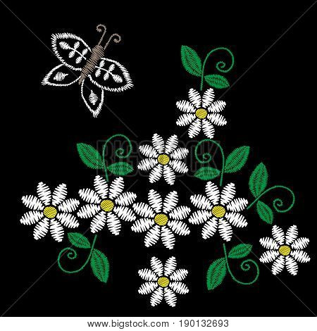 Embroidery stitches imitation white flower butterfly and green leaf. Floral embroidery pattern on the black background. Vector embroidery template for printing on fabric napkin and other design.