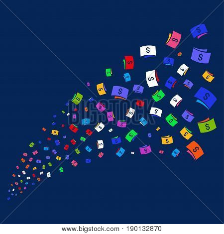 Source of banknotes symbols. Vector illustration style is flat bright multicolored banknotes iconic symbols on a blue background. Object stream constructed from scattered icons.