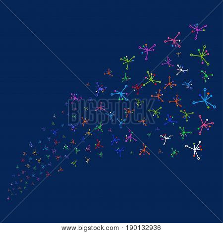 Source stream of big bang symbols. Vector illustration style is flat bright multicolored big bang iconic symbols on a blue background. Object stream combined from random icons.
