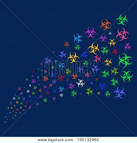 Source stream of biohazard symbols. Vector illustration style is flat bright multicolored biohazard iconic symbols on a blue background. Object stream combined from confetti pictograms.