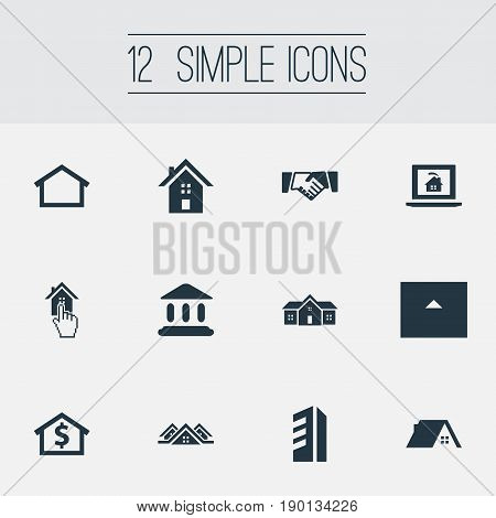 Vector Illustration Set Of Simple Real Icons. Elements Ancient Temple, Choose, Barn And Other Synonyms Barn, Home And Residence.