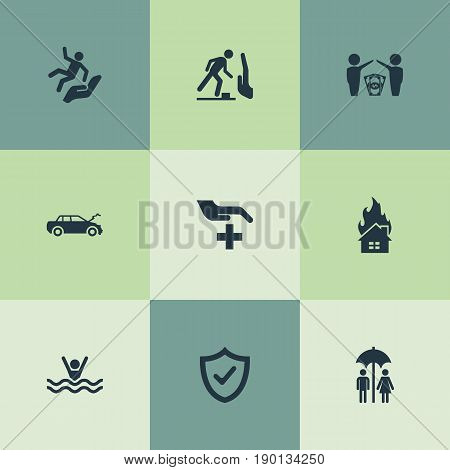 Vector Illustration Set Of Simple Fuse Icons. Elements Automobile Damage, Slide Down, Stumbling Warning And Other Synonyms Falling, Couple And Flame.