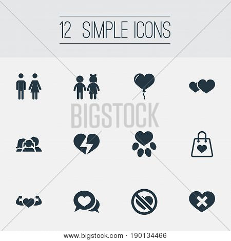Vector Illustration Set Of Simple Feelings Icons. Elements Broken Soul, Package, Wounded And Other Synonyms Heartbreak, Romantic And Together.