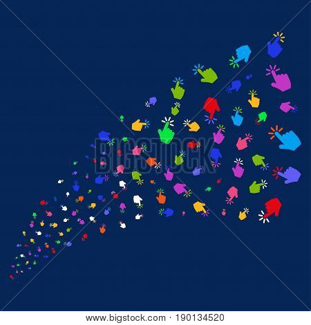 Source stream of click symbols. Vector illustration style is flat bright multicolored click iconic symbols on a blue background. Object source combined from random pictographs.