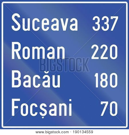 Guide Sign With Distance To Destinations In Romania