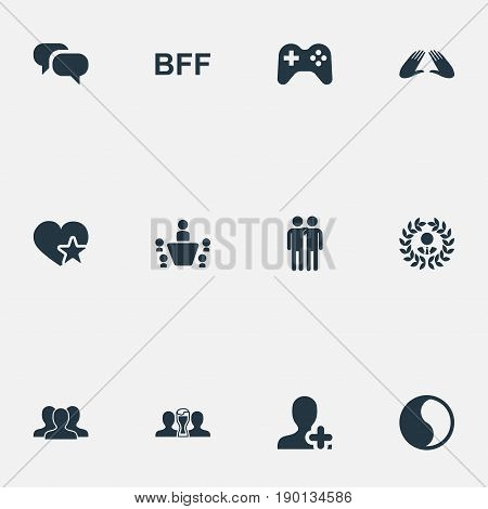 Vector Illustration Set Of Simple  Icons. Elements Add Friend, Controller, Fellows And Other Synonyms Accord, Mates And Balance.