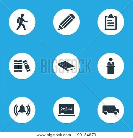 Vector Illustration Set Of Simple Knowledge Icons. Elements Books, Student, Bell And Other Synonyms Bookshop, Tribune And Man.