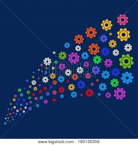 Source stream of cog symbols. Vector illustration style is flat bright multicolored cog iconic symbols on a blue background. Object stream done from confetti pictograms.