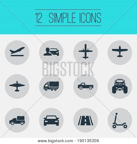 Vector Illustration Set Of Simple Transport Icons. Elements Aeration, Takeoff, Motor Lorry And Other Synonyms Suv, Pickup And Man.