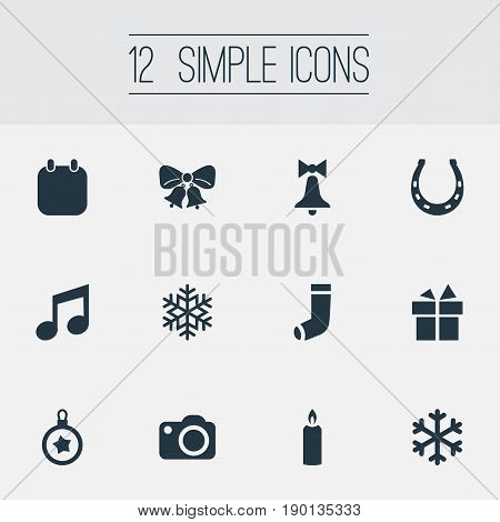 Vector Illustration Set Of Simple New Year Icons. Elements Fortune Talisman, Photography, Snow And Other Synonyms Fire, Snowflake And Christmas.