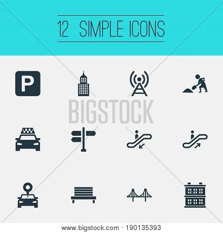 Vector Illustration Set Of Simple Public Icons. Elements Connection, Passenger Transportation, Signal Transmitter And Other Synonyms Navigation, Transmitter And Rope.