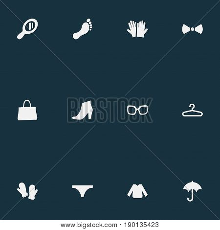 Vector Illustration Set Of Simple Dress Icons. Elements String, Blouse, Make-Up Glass And Other Synonyms Winter, Rack And Fashion.