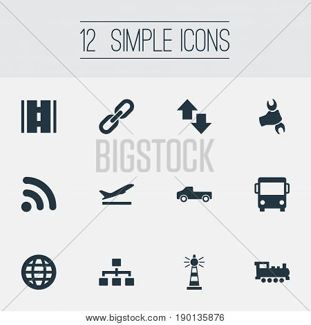 Vector Illustration Set Of Simple Infrastructure Icons. Elements Beacon, Professional Mechanic, Development Scheme And Other Synonyms International, Beacon And Rail.