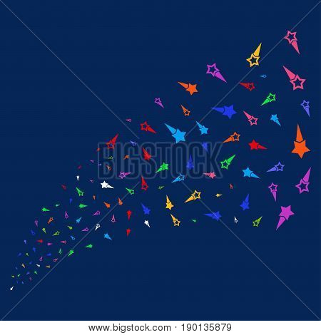 Source stream of confetti stars symbols. Vector illustration style is flat bright multicolored confetti stars iconic symbols on a blue background. Object stream combined from scattered pictographs.