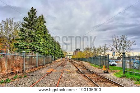 Railway in the old port of Montreal - Quebec, Canada
