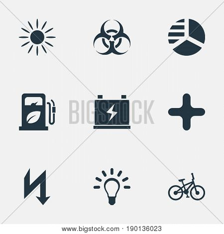 Vector Illustration Set Of Simple Ecology Icons. Elements Biology Peril, Petrol, Diagram And Other Synonyms Battery, Bulb And Lightning.