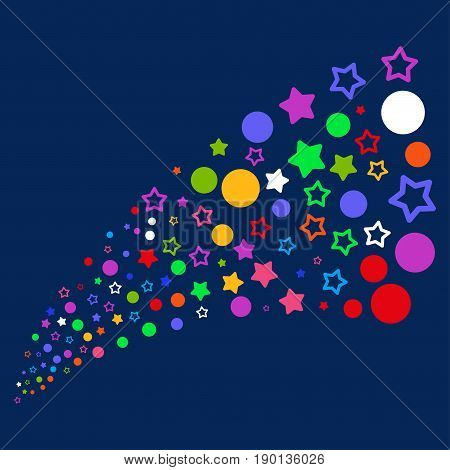 Source stream of confetti stars icons. Vector illustration style is flat bright multicolored confetti stars iconic symbols on a blue background. Object source constructed from confetti pictograms.