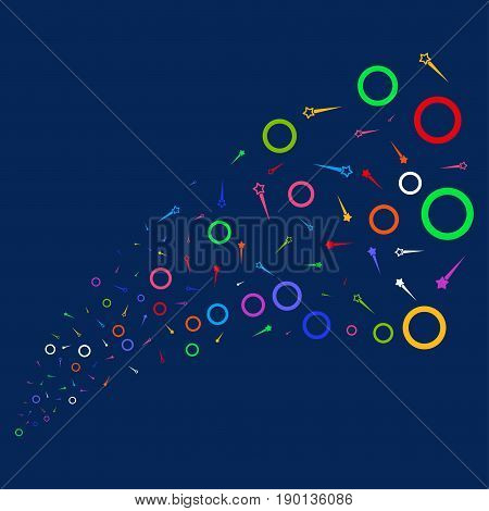 Source stream of confetti stars icons. Vector illustration style is flat bright multicolored confetti stars iconic symbols on a blue background. Object salute made from confetti icons.