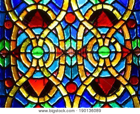 MONTREAL CANADA 05 19 2017: Stained Glass Window With Symmetrical Patterns In Notre-Dame Basilica. Gota love glass in Old Montreal Quebec Canada