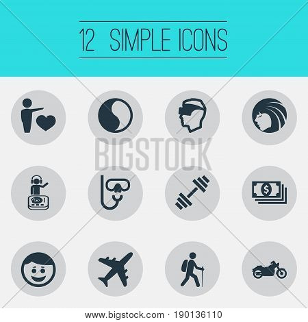 Vector Illustration Set Of Simple Fashion Icons. Elements Ballance, Plane, Night Club And Other Synonyms Yin-Yang, Dumbbell And Face.