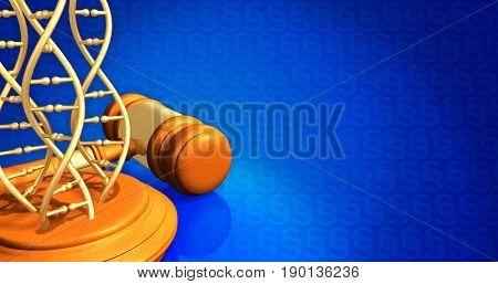 DNA Law Concept 3D Illustration