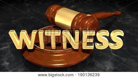 Witness Law Concept 3D Illustration