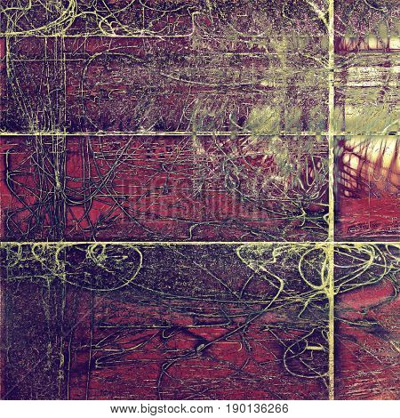 Vintage texture, old style frame decoration with grunge graphic elements and different color patterns: yellow (beige); brown; green; gray; purple (violet); pink