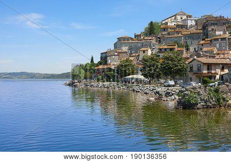 The small village of Anguillara Sabazia located on Bracciano Lake in Lazio Rome Italy.