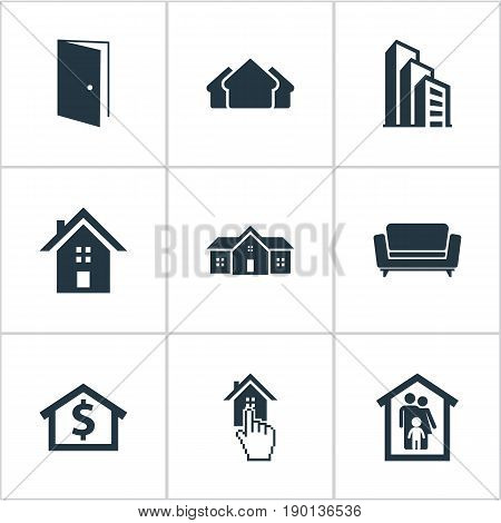 Vector Illustration Set Of Simple Real Icons. Elements Apartment, Home, Capital And Other Synonyms House, Building And Investment.