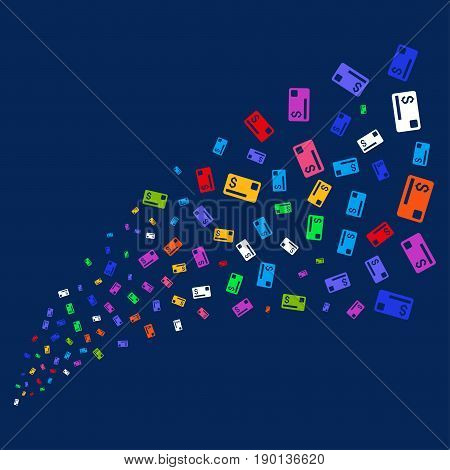 Fountain of credit card icons. Vector illustration style is flat bright multicolored credit card iconic symbols on a blue background. Object stream constructed from scattered design elements.