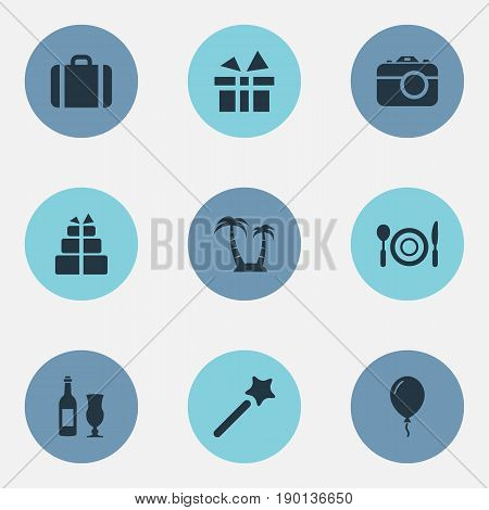 Vector Illustration Set Of Simple Vacation Icons. Elements Balloon , Island , Supper Synonyms Surprise, Celebration And Vacation.