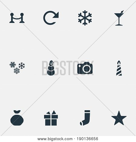 Vector Illustration Set Of Simple New Year Icons. Elements December, Martini, Rope Barrier And Other Synonyms Rope, Flame And Decoration.