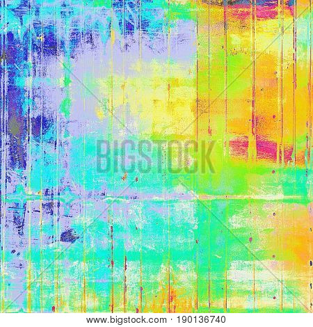 Retro background with vintage style design elements, scratched grunge texture, and different color patterns: blue; yellow (beige); green; red (orange); purple (violet); pink