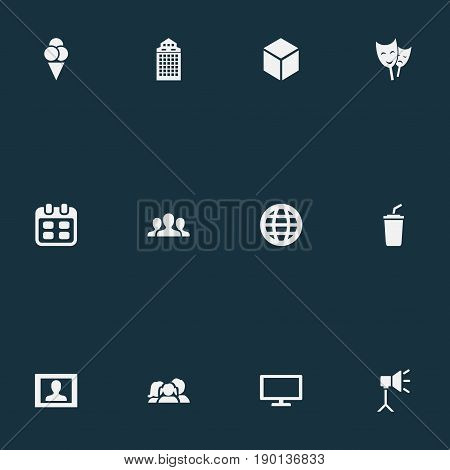 Vector Illustration Set Of Simple Cinema Icons. Elements Family, Industry, Soda And Other Synonyms Decoration, Mask And Soda.