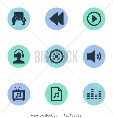 Vector Illustration Set Of Simple Sound Icons. Elements Backwards, Compact Disk, Megaphone And Other Synonyms Entertainment, Tone And Loudspeaker.
